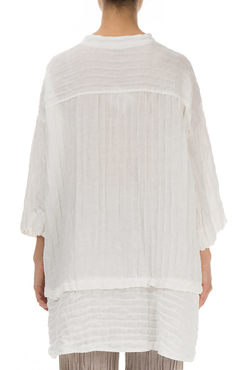 Flared Crinkled White Silk Shirt