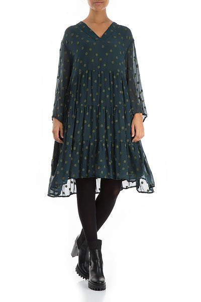 Flared Dotty Pine Silk Dress