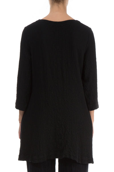 Flared Elegant Black Wool Tunic