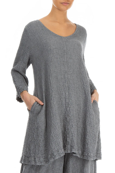 Flared Elegant Grey Wool Tunic