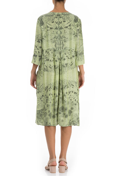 Flared Flowers Print Lime Silk Bamboo Dress - GRIZAS | Natural Contemporary Womenswear