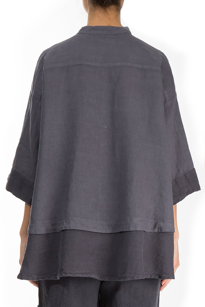 Flared Graphite Linen Shirt