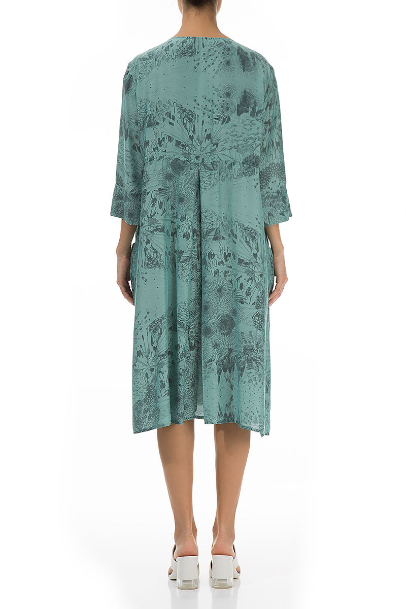 Flared Jungle Aqua Green Silk Bamboo Dress