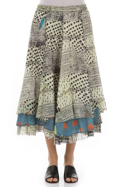 Flared Layered Magnifique Print Silk Skirt