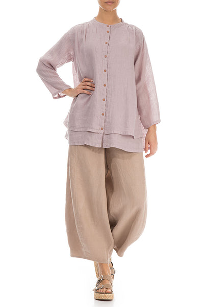 Layered Antique Rose Linen Shirt