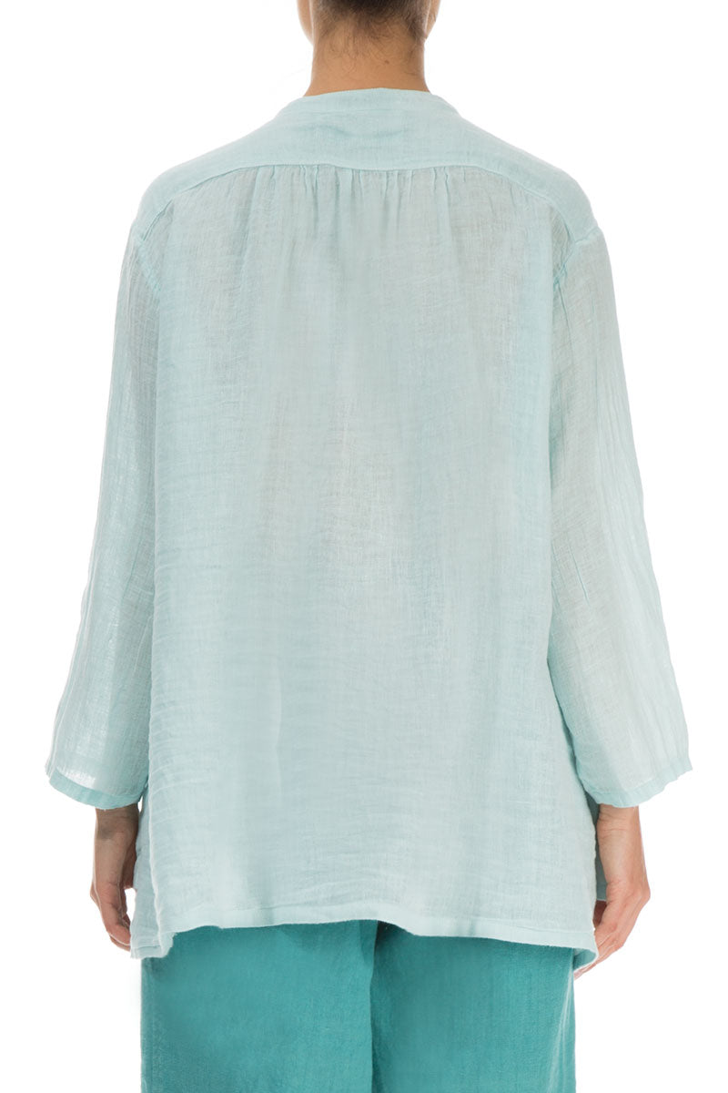 Layered Aqua Breeze Linen Shirt