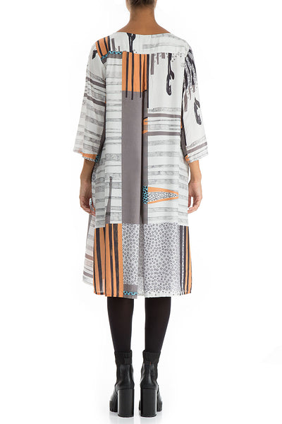 Flared Modern Print Silk Bamboo Dress