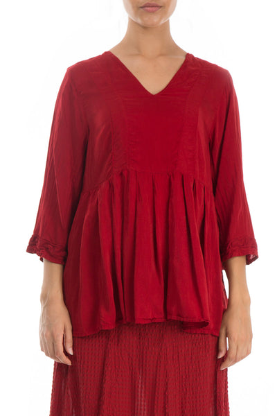 Flared Red Silk Bamboo Blouse