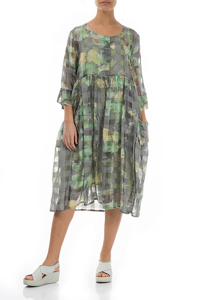 Flared Waterlilies Silk Dress