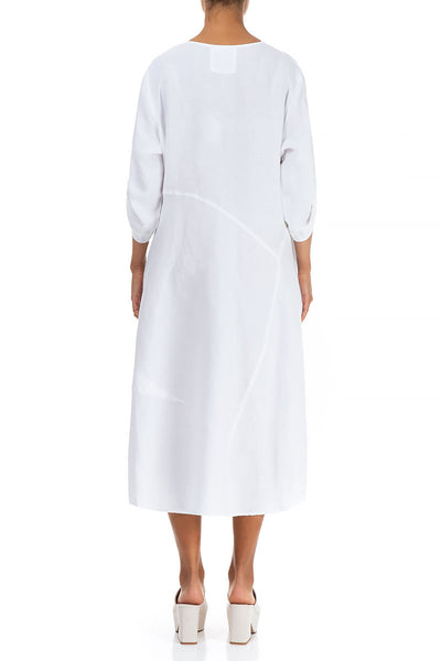 Flared White Linen Dress - GRIZAS | Natural Contemporary Womenswear