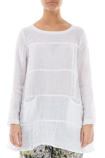 Flared White Linen Tunic