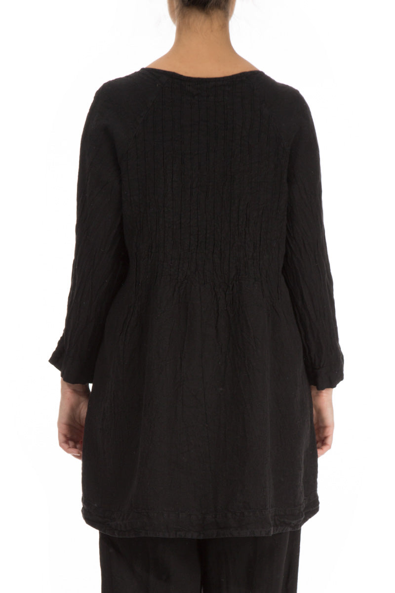 Flared Black Linen Tunic - GRIZAS | Natural Contemporary Womenswear