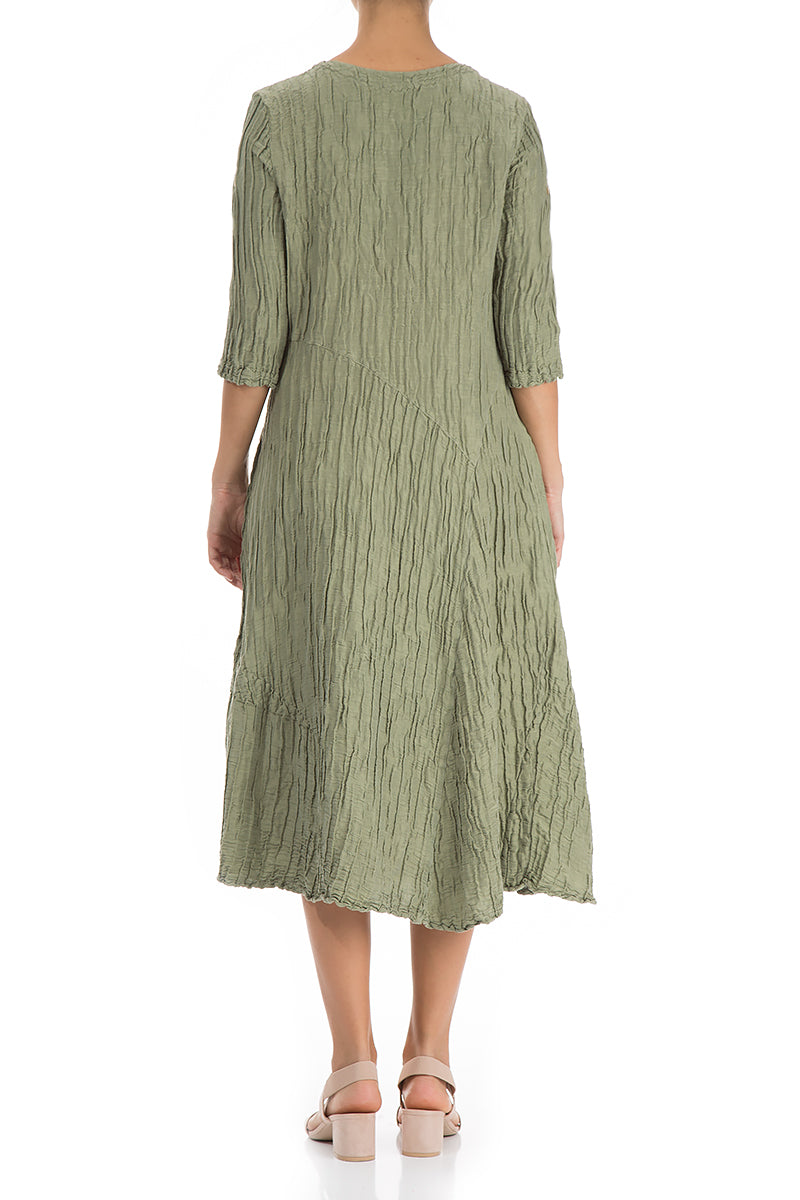 Flared Khaki Crinkled Dress - GRIZAS | Natural Contemporary Womenswear