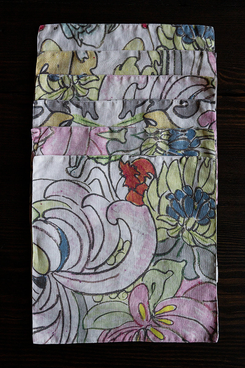 Floral Print Linen Table Napkins