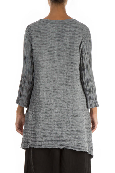 Floral Pattern Crinkled Anthracite Tunic