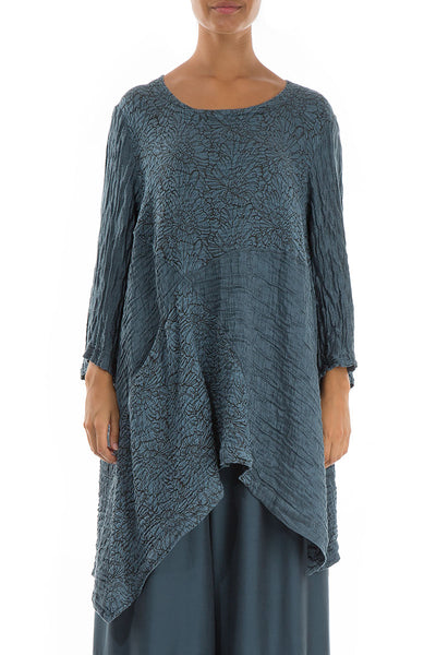 Floral Pattern Crinkled Brass Blue Tunic