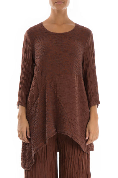Floral Pattern Crinkled Cinnamon Tunic