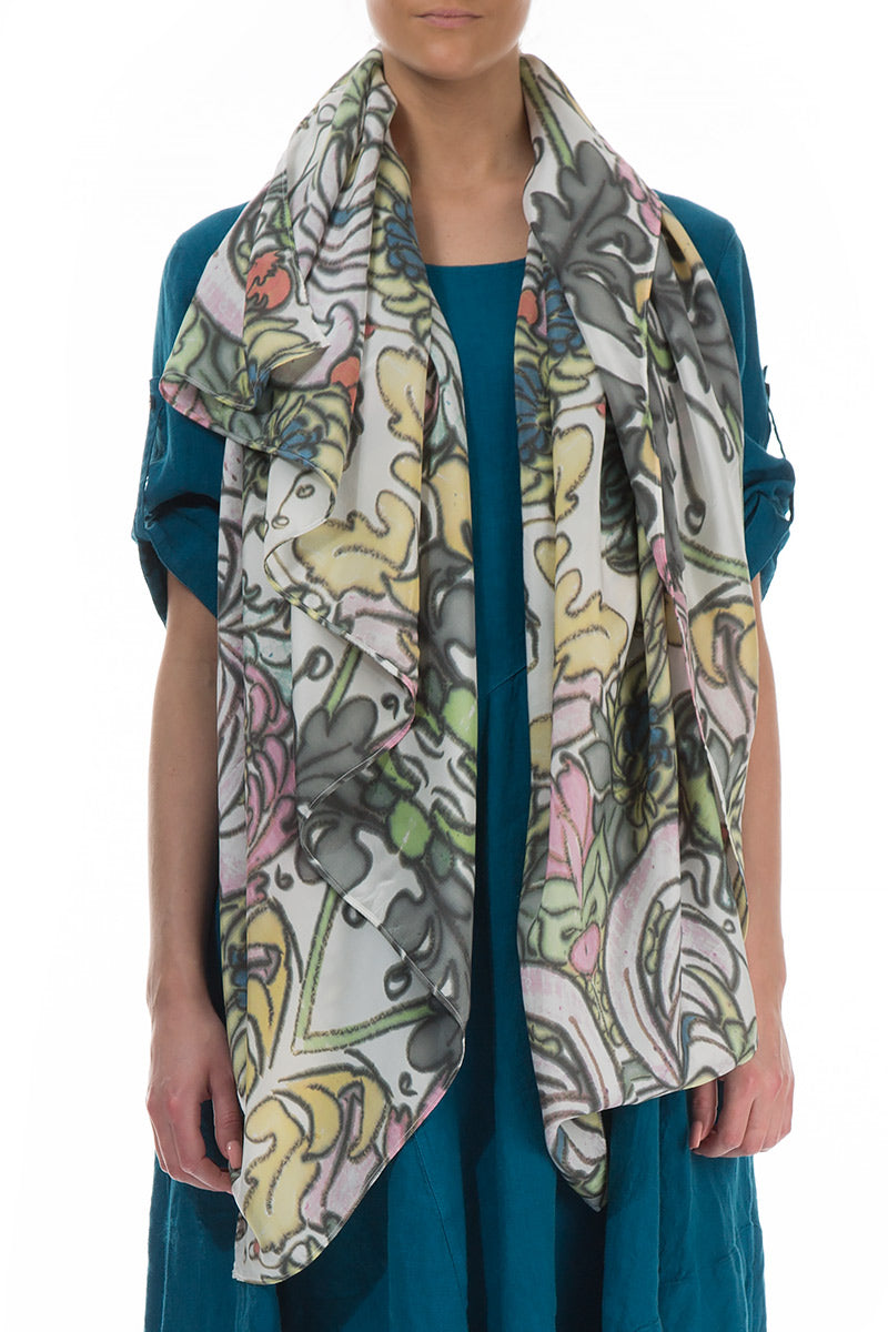 Floral Pure Silk Scarf
