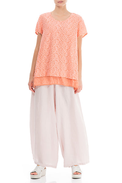 Floral Texture Layered Coral Blouse - GRIZAS | Natural Contemporary Womenswear