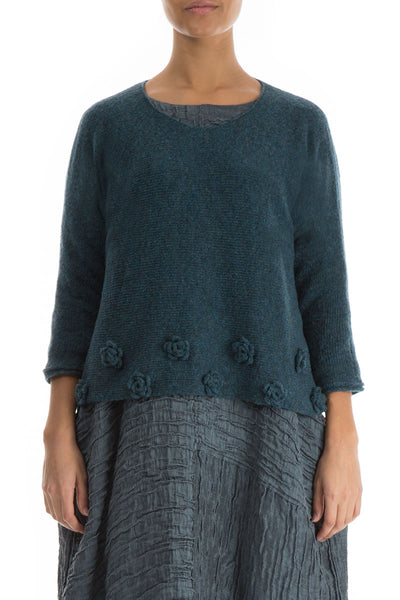 Flowers Blue Emerald Wool Sweater