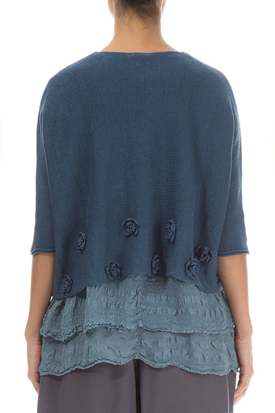 Flowers Decorated Blue Linen Sweater