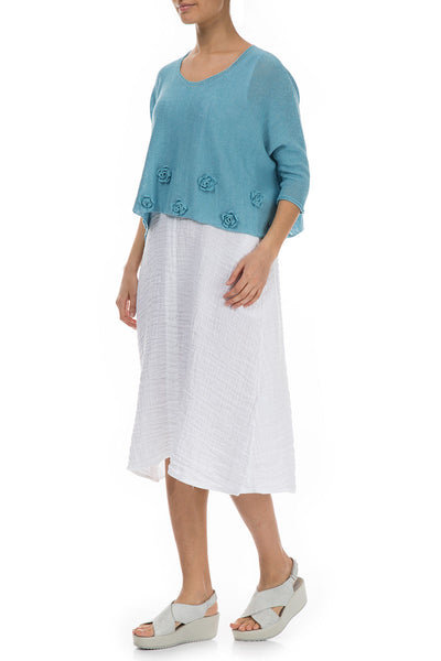 Flowers Decorated Turquoise Linen Sweater