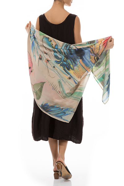 Flowers Garden Pure Silk Scarf
