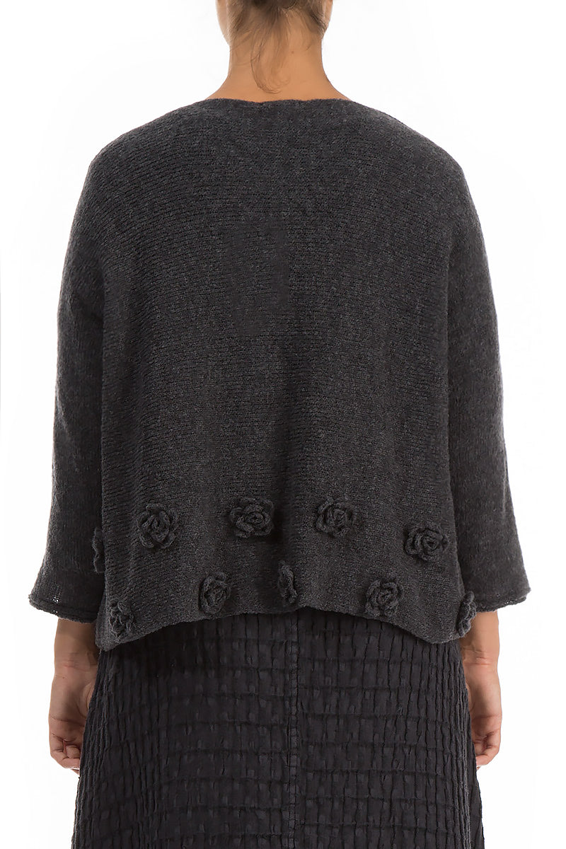Flowers Dark Grey Wool Sweater