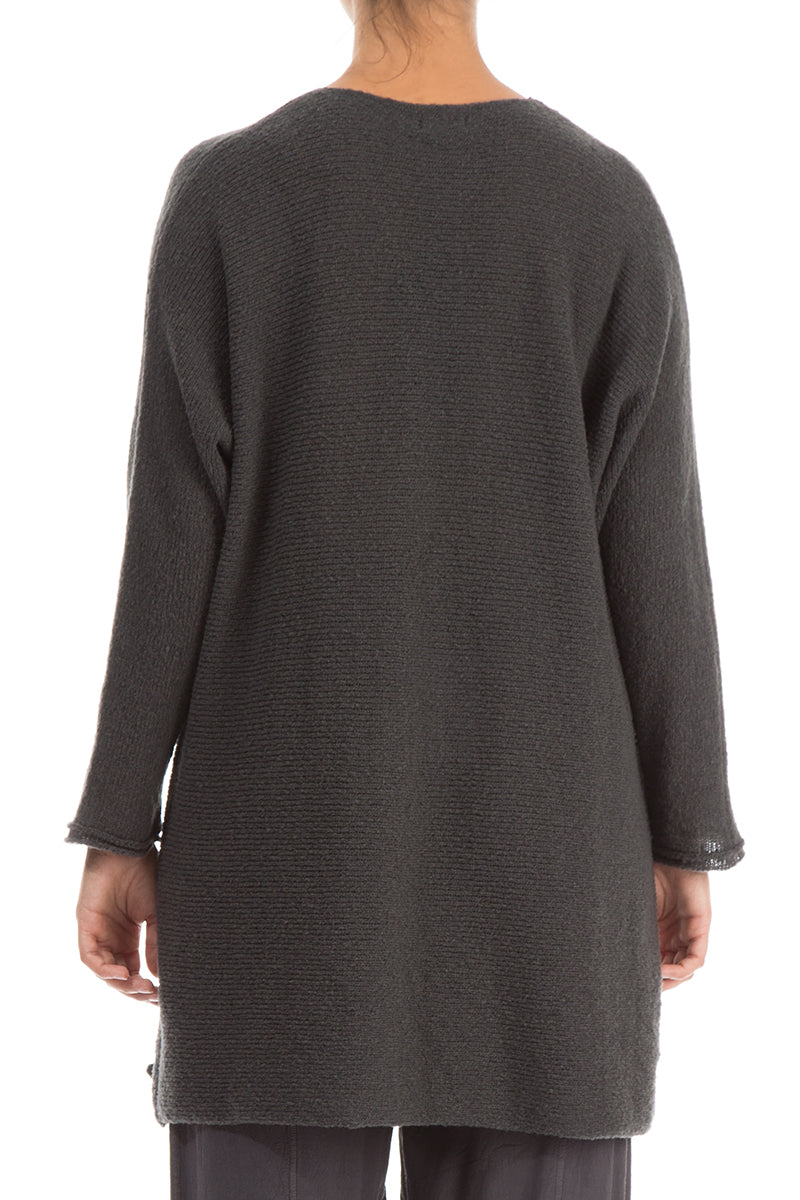 Decorated Iron Grey Wool Sweater - GRIZAS | Natural Contemporary Womenswear