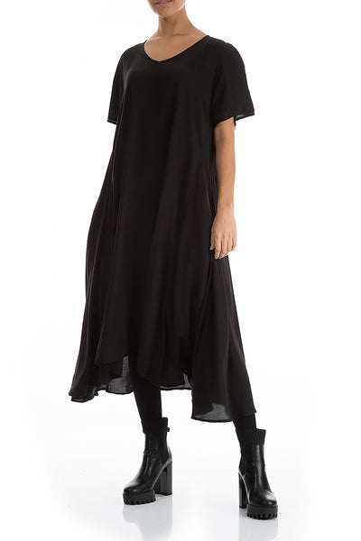 Flowy Black Silk Bamboo Dress