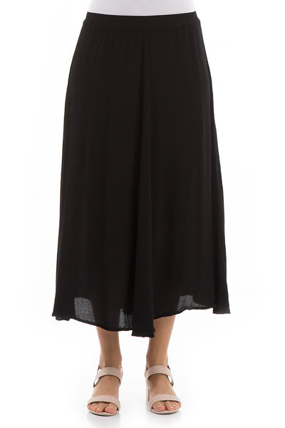 Flowy Black Viscose Skirt - GRIZAS | Natural Contemporary Womenswear