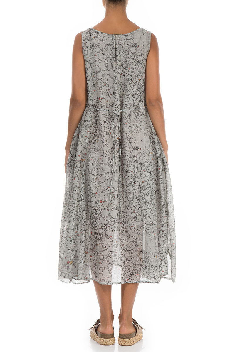Flowy Bubbly Washed Out Taupe Silk Cotton Dress