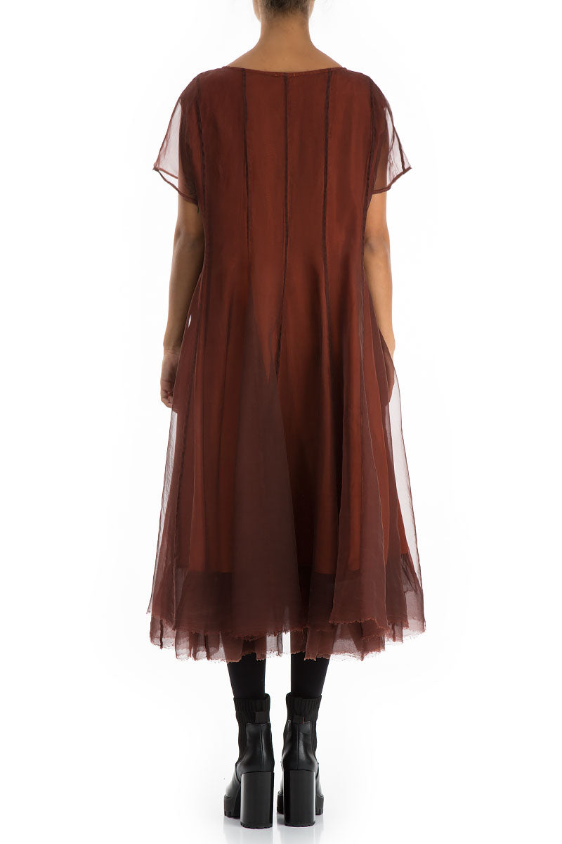 Flowy Rust Silk Chiffon Dress
