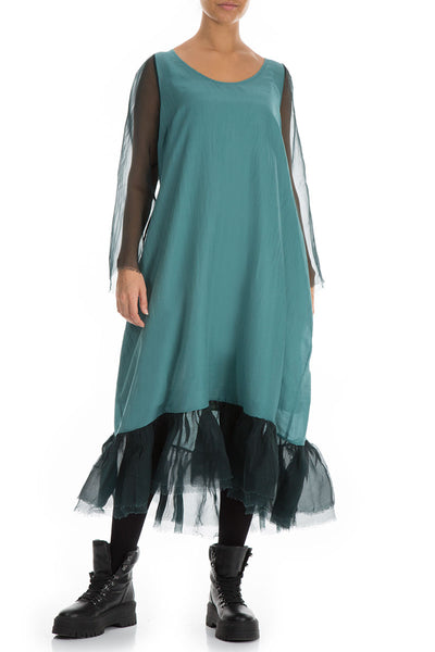 Frilled Emerald Pure Silk Dress