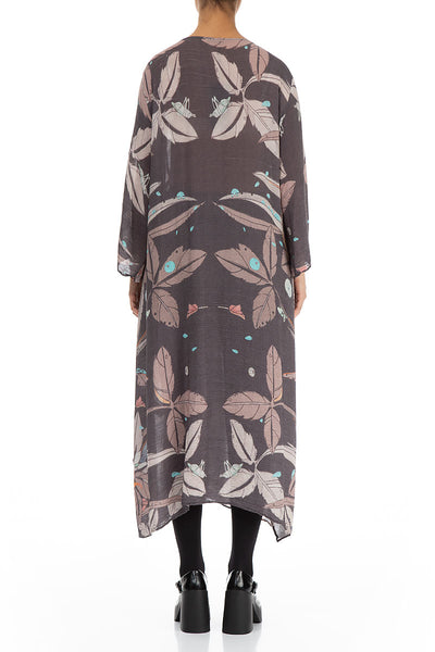Flowy Leaves Print Silk Viscose Dress