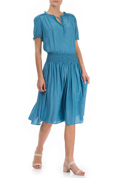 Flowy Ocean Blue Silk Bamboo Dress