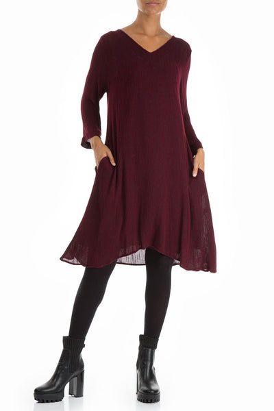 Flowy V-neck Wine Dress