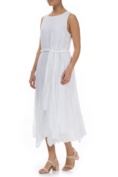 Flowy White Linen Dress