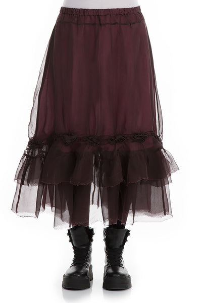 Frilled Wine Silk Chiffon Skirt