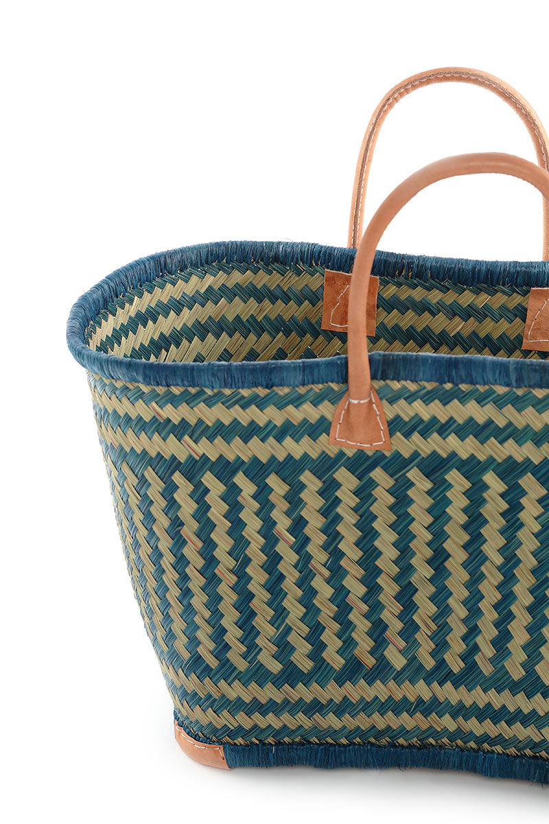 French Market Natural Blue Basket