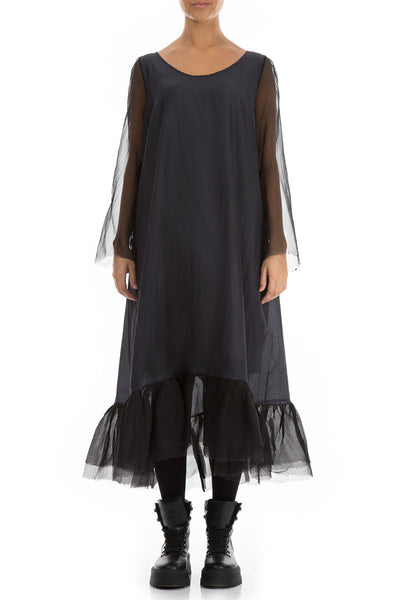 Frilled Black Pure Silk Dress