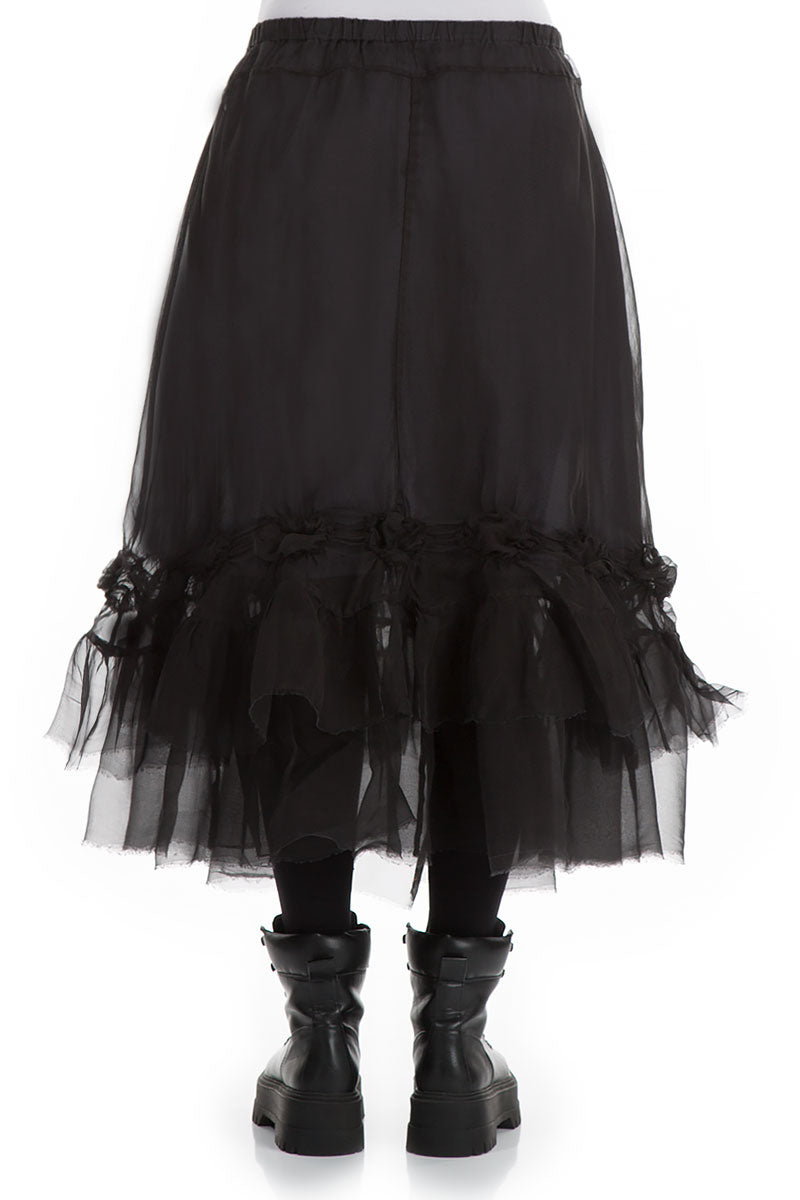 Frilled Black Silk Chiffon Skirt