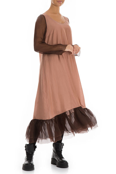 Frilled Cinnamon Pure Silk Dress