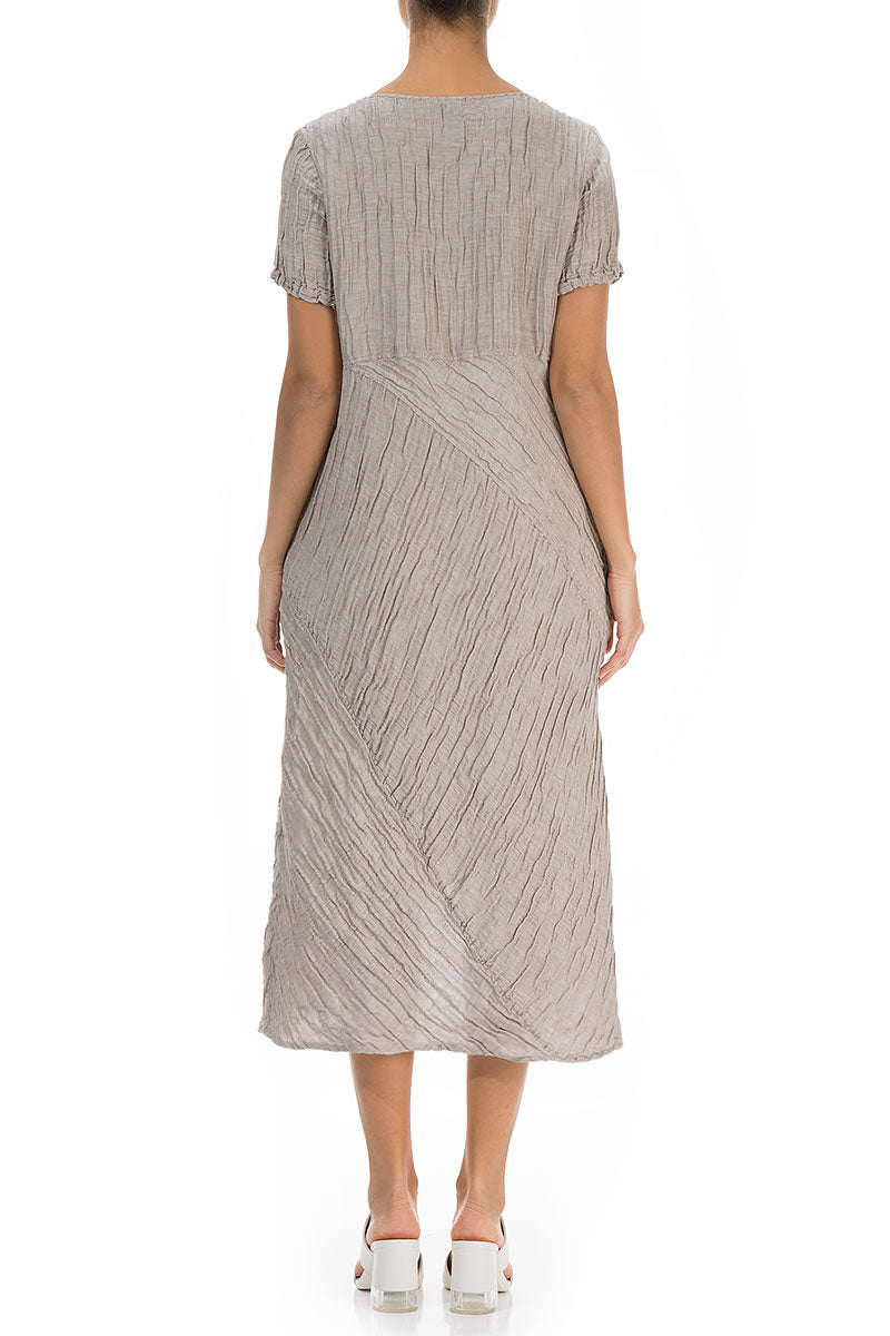 Front Slit Crinkled Cappuccino Silk Dress