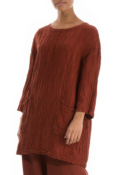 Front Pockets Crinkled Rust Tunic