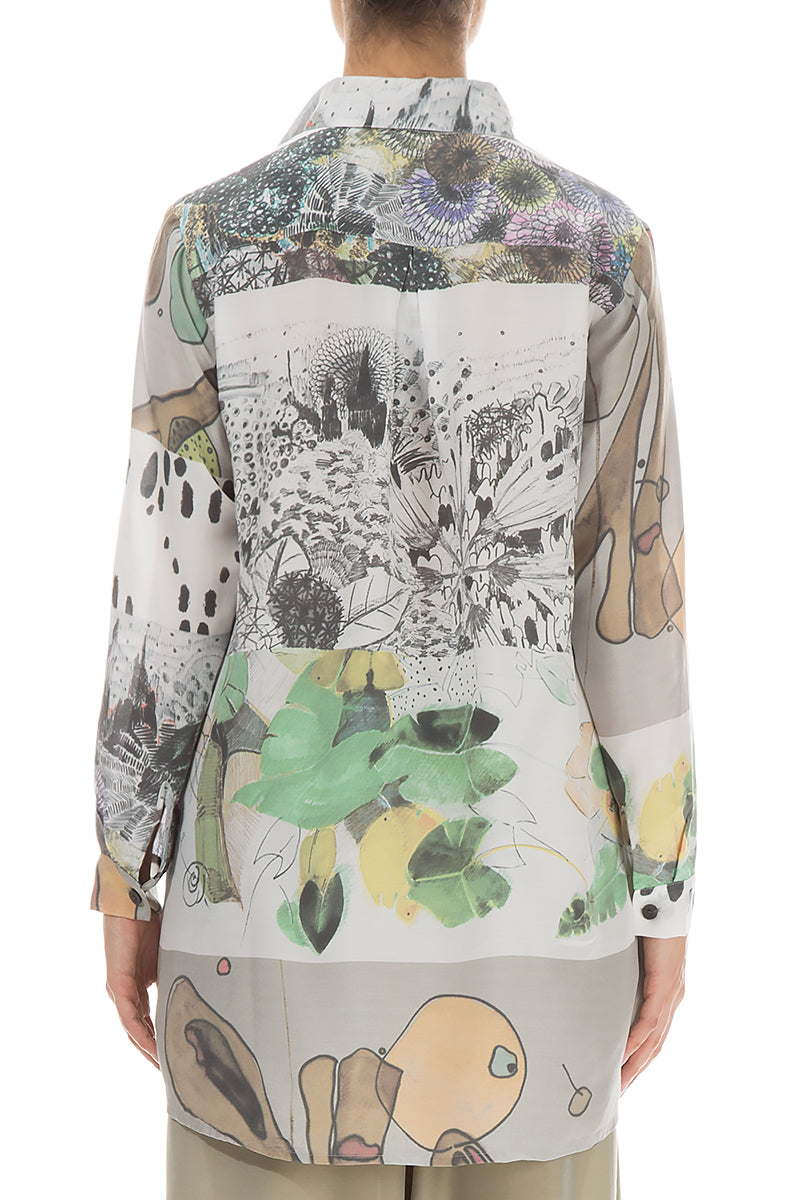 Front Pockets Hand Painted Silk Bamboo Shirt