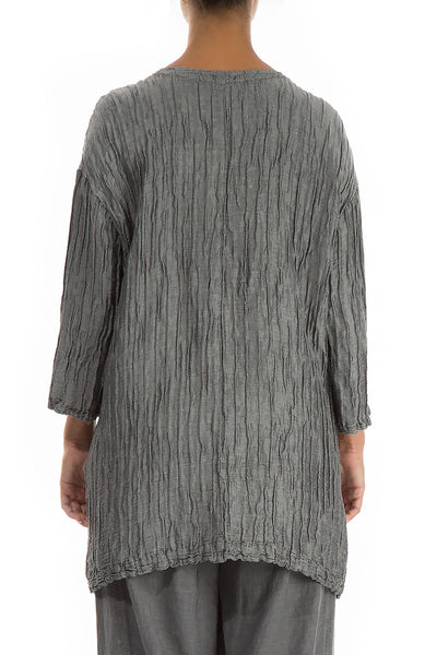 Front Pockets Crinkled Anthracite Tunic