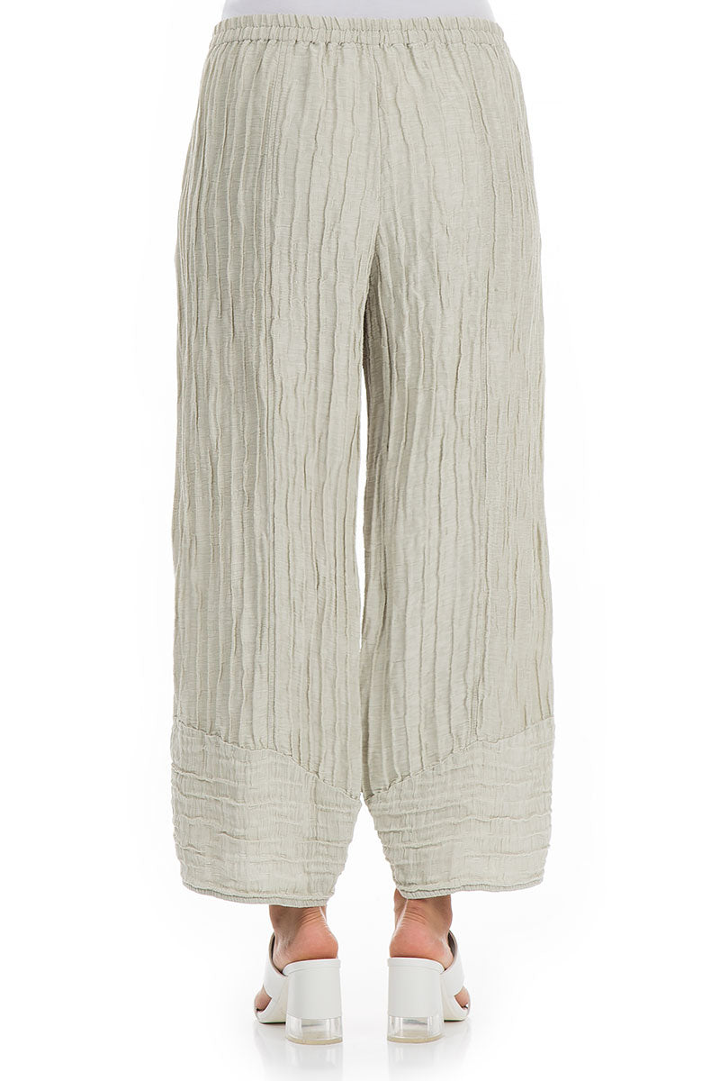 Wide Crinkled Pearl Silk Trousers