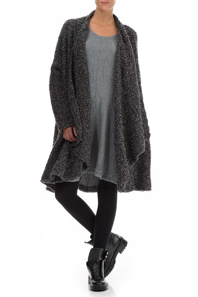Open Mélange Grey Alpaca Wool Coat Cardigan