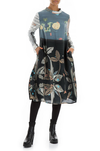 High Neck Mixed Prints Pure Silk Dress
